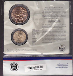 Reverse of Lincoln coin and first spouse medal set