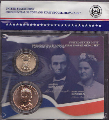 Abraham Lincoln presidential coin and Mary Todd Lincoln medal set
