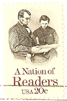 Abraham Lincoln and Tad on 20 cent stamp
