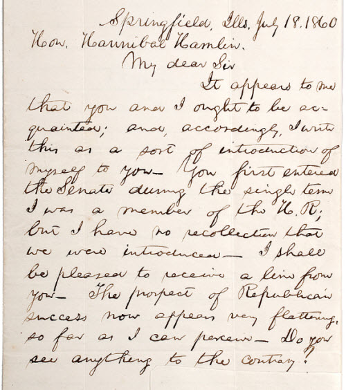 Lincoln letter of introduction to Hannibal Hamlin