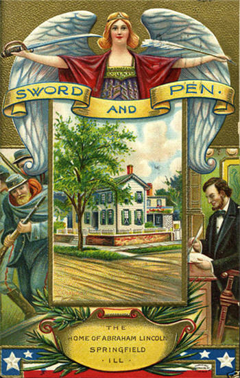 Abraham Lincoln sword and pen post card