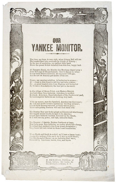 Monitor Civil War battle song sheet
