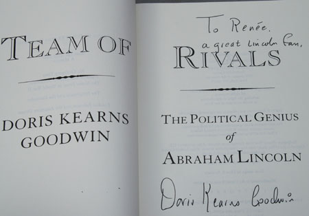 Doris Kearns Goodwin autographs her book for me