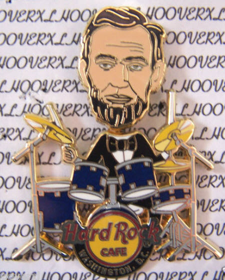 Hard Rock Cafe pin Abe Lincoln drummer drums