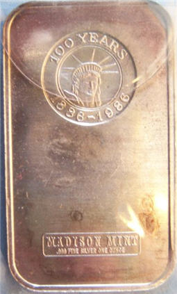 Abraham Lincoln silver bar Statue of Liberty