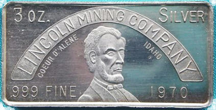 Abraham Lincoln on Lincoln Mining Company silver ingot