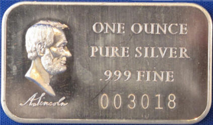 Abraham Lincoln one ounce silver bar