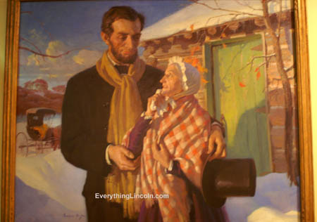 Frederic Mizen painting Lincoln's Farewell to His Stepmother