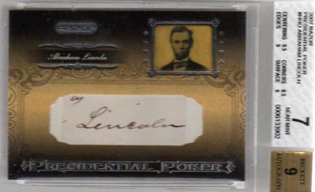 2007 Razor Presidential Poker Abraham Lincoln autographed baseball card