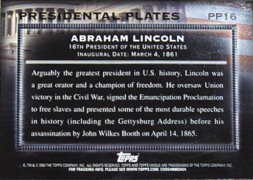 2009 Topps PP-16 Abraham Lincoln baseball card