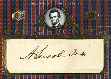 Upper Deck Signs of History Abraham Lincoln